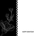 Hand-drawn white flower on black background Floral vector image vector image