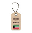hang tag made in kuwait with flag icon isolated on vector image