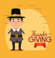 happy thanks giving card with pilgrim man vector image