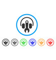 headphones tuning wrench rounded icon vector image