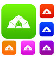hiking and camping tent set color collection vector image vector image