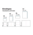 international standard envelopes for paper or vector image