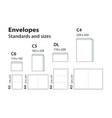 international standard envelopes for paper or vector image vector image