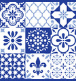lisbon indigo tiles seamless pattern vector image vector image