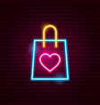 love shopping bag neon sign vector image vector image