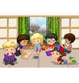 Many children reading in room vector image vector image