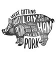 meat cutting - pork white chalkboard poster cut vector image