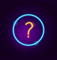 question button neon sign vector image