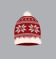red knitted winter hat vector image vector image