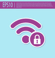 retro purple wifi locked sign icon isolated on vector image vector image