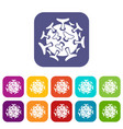Round viral bacteria icons set