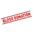 scratched textured blood donation stamp seal vector image vector image