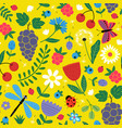 seamless flowers pattern with berries and insect vector image