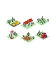 set isometric farm icons tractors vector image