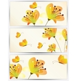 Set of abstract cards with flowers vector image vector image