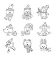 set of cute animals in the winter nursery art vector image vector image
