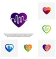 set of love heart with pulse logo elements and vector image