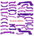 set of thirty five violet empty ribbons vector image vector image