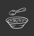 soup chalk icon bowl and spoon kitchenware hot vector image vector image