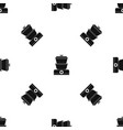 steamer pattern seamless black vector image vector image