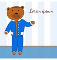 Template with the character of bear in a blue suit vector image