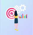 woman looking at target and cogwheelscharts vector image vector image