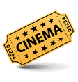yellow cinema ticket vector image