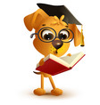 yellow dog teacher reading book vector image vector image