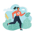 young woman in sportswear run vector image vector image