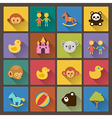 zoo and animals icons in flat design style vector image vector image