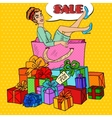 Pop Art Woman in Shopping Bag with Gifts vector image