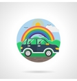 Car and rainbow color detailed icon vector image