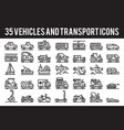 35 vehicle and transport outline icons vector image vector image