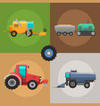 agricultural vehicles cards harvester machine vector image