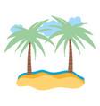 beach sand sea palm trees cartoon isolated design vector image vector image