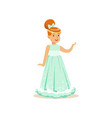 beautifull redhead little girl princess in a light vector image vector image
