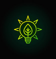 bulb with leaf green icon vector image