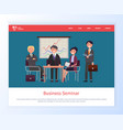 business seminar boss with partners meeting web vector image vector image