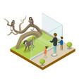 cage with monkeys isometric 3d icon vector image