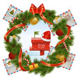 Christmas Wreath with Mailbox vector image vector image