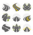 curving road set roads logo set in grey vector image vector image