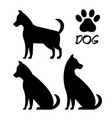 cute dog silhouette icons vector image