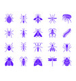 danger insect color silhouette icons set vector image