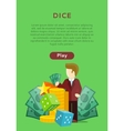 Dice Casino Banner Online Play Concept vector image vector image