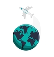 earth globe and airplane icon vector image vector image