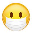 emoticon wearing medical mask vector image