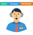 Flat design icon of football commentator vector image vector image