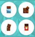 flat icon cacao set of bitter wrapper cocoa and vector image vector image