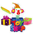 font design for word toy shop with jack in box vector image