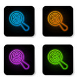 glowing neon magnifying glass and dollar icon vector image